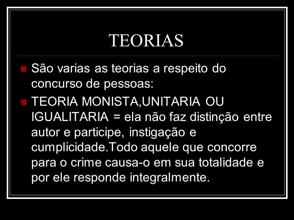 TEORIAS São varias as teorias a respeito do concurso de pessoas:
