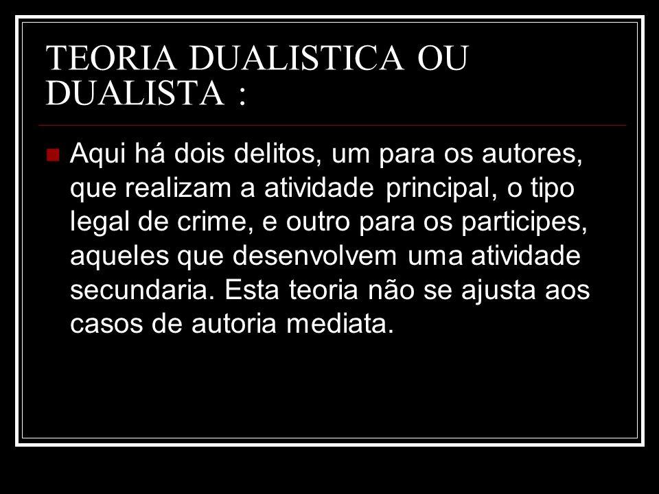 TEORIA DUALISTICA OU DUALISTA :