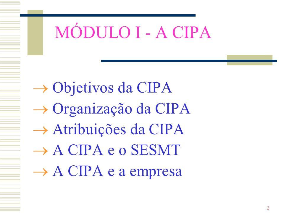 MÓDULO I - A CIPA Objetivos da CIPA Organização da CIPA