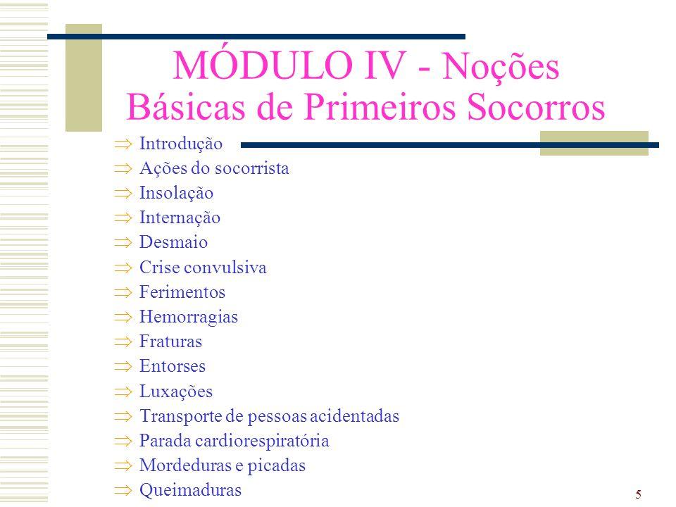 MÓDULO IV - Noções Básicas de Primeiros Socorros