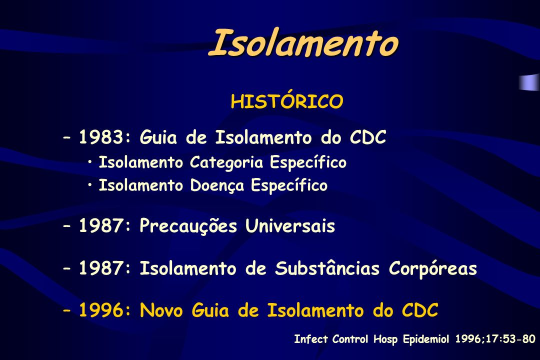 Isolamento HISTÓRICO 1983: Guia de Isolamento do CDC