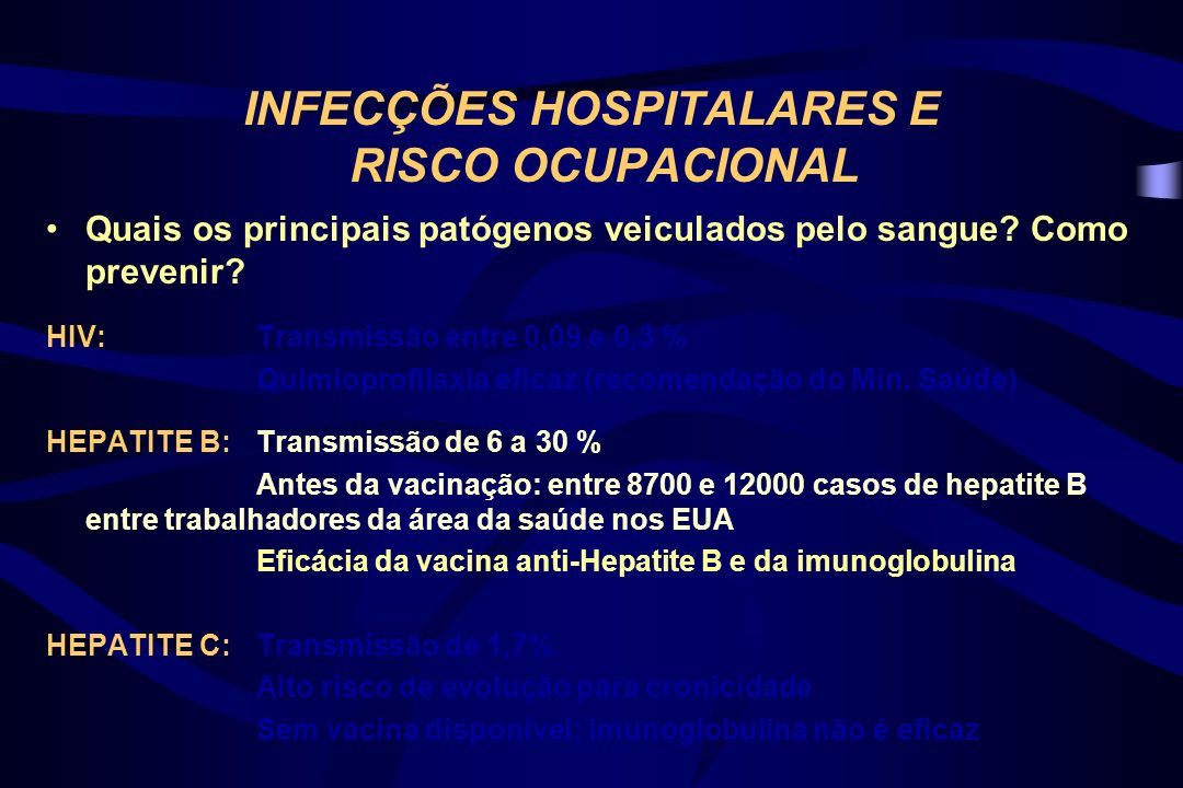 INFECÇÕES HOSPITALARES E RISCO OCUPACIONAL