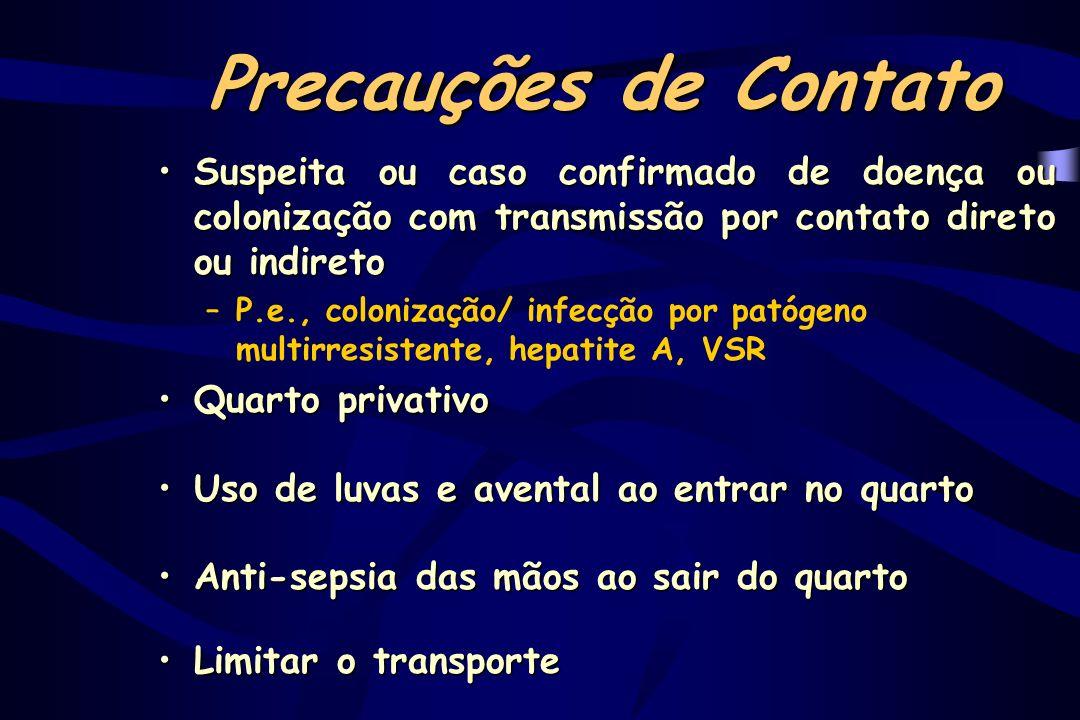 Precauções de ContatoSuspeita ou caso confirmado de doença ou colonização com transmissão por contato direto ou indireto.