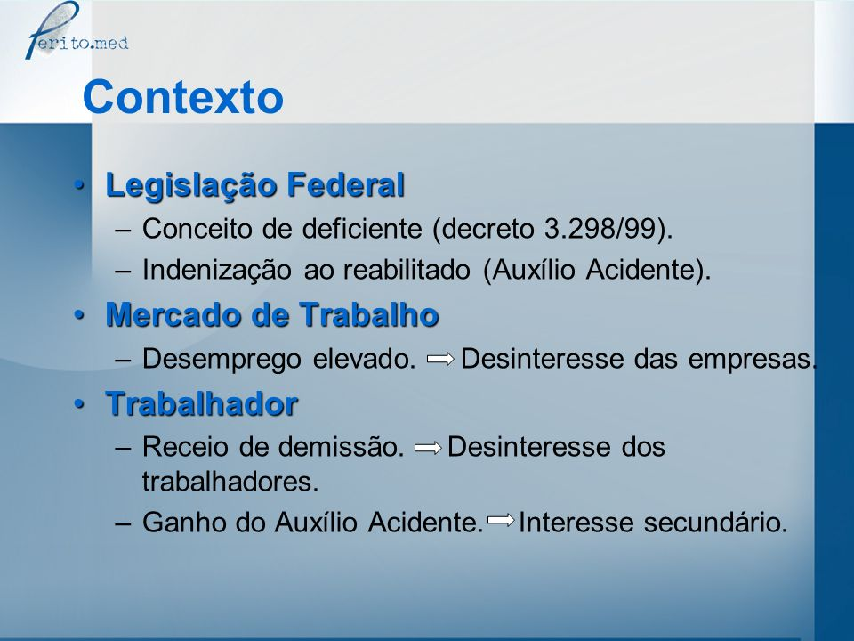Contexto Legislação Federal Mercado de Trabalho Trabalhador
