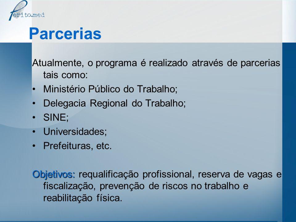 Parcerias Atualmente, o programa é realizado através de parcerias tais como: Ministério Público do Trabalho;