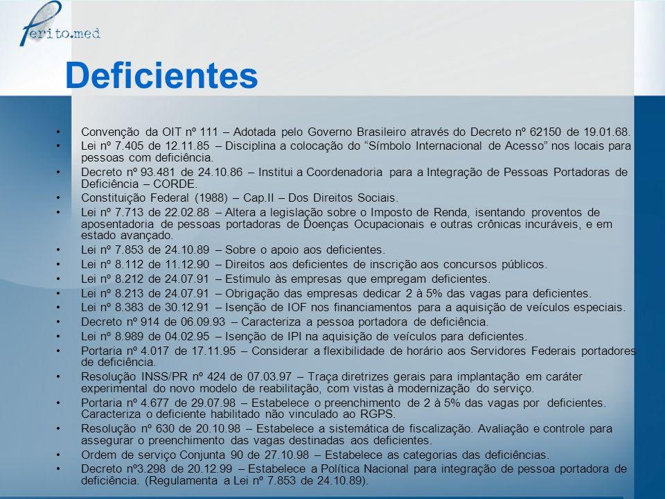 DeficientesConvenção da OIT nº 111 – Adotada pelo Governo Brasileiro através do Decreto nº 62150 de 19.01.68.