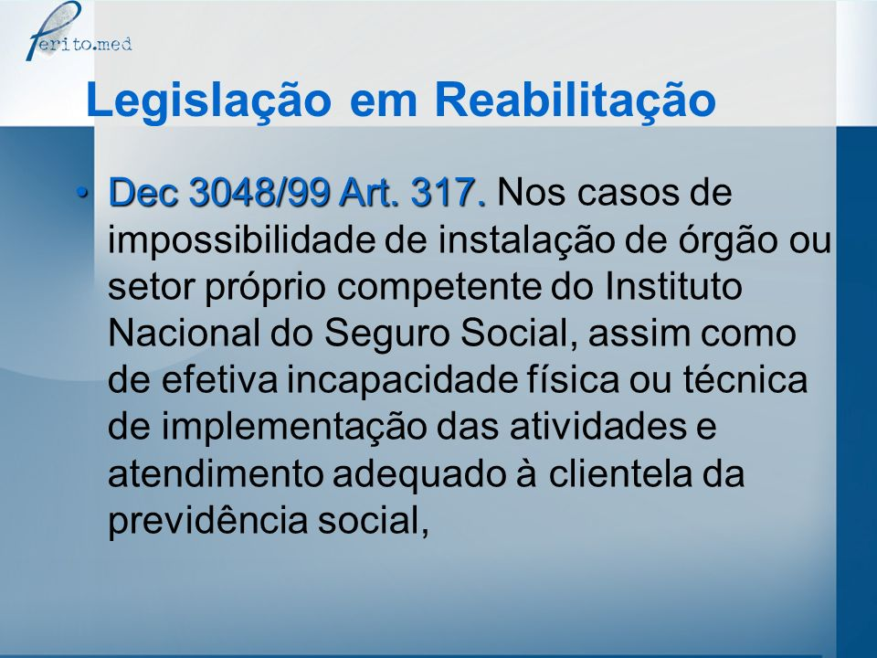 Legislação em Reabilitação