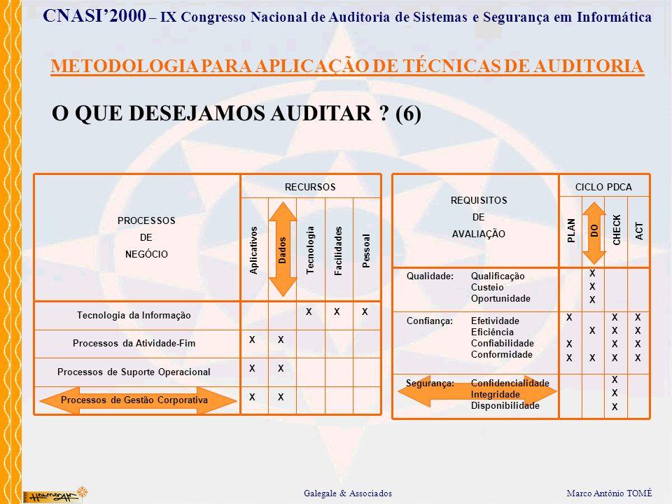 METODOLOGIA PARA APLICAÇÃO DE TÉCNICAS DE AUDITORIA