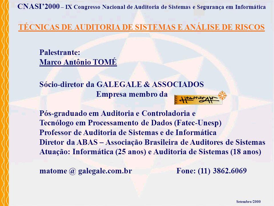 TÉCNICAS DE AUDITORIA DE SISTEMAS E ANÁLISE DE RISCOS