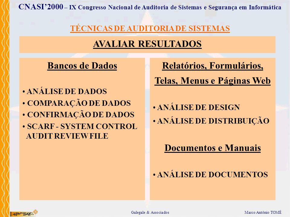 Relatórios, Formulários, Telas, Menus e Páginas Web