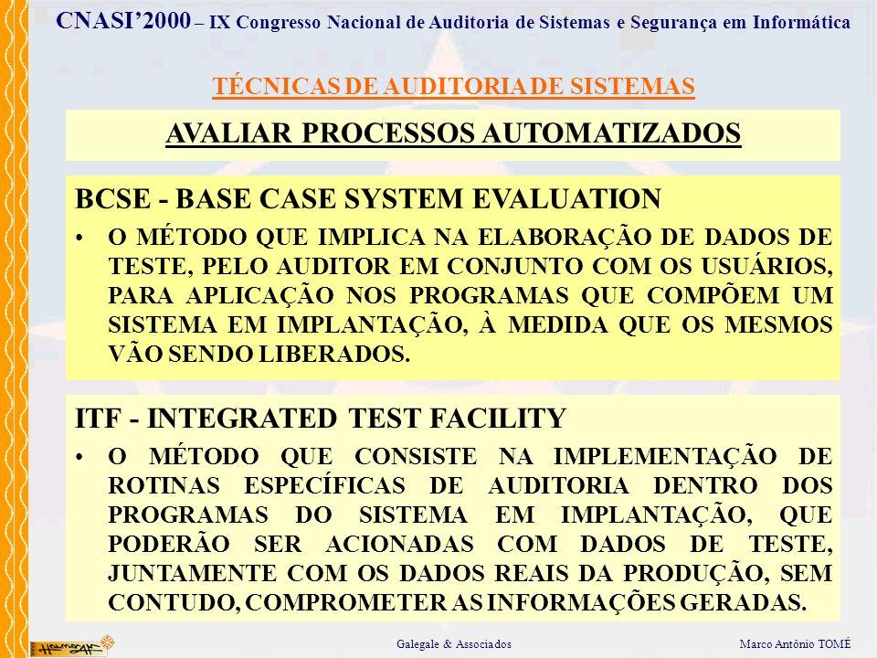 TÉCNICAS DE AUDITORIA DE SISTEMAS AVALIAR PROCESSOS AUTOMATIZADOS