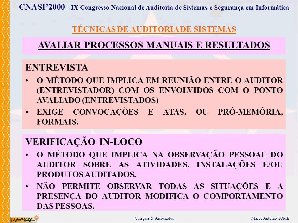 AVALIAR PROCESSOS MANUAIS E RESULTADOS