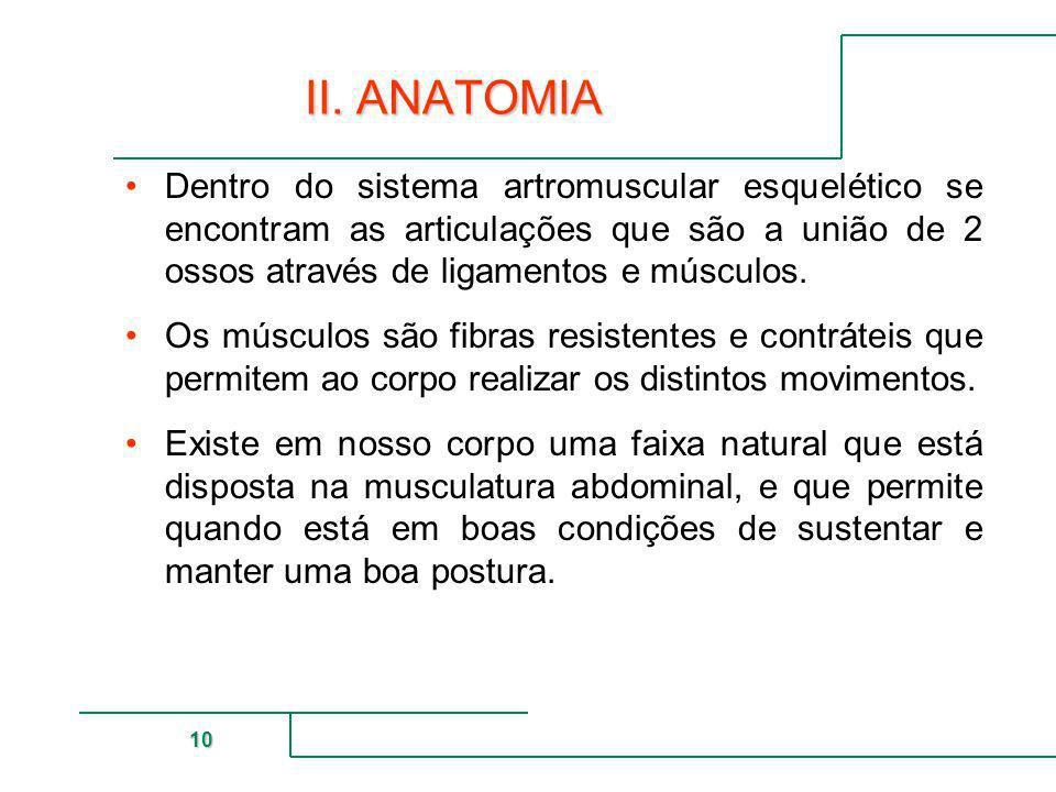 II. ANATOMIADentro do sistema artromuscular esquelético se encontram as articulações que são a união de 2 ossos através de ligamentos e músculos.