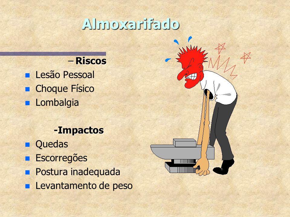 Almoxarifado Riscos Lesão Pessoal Choque Físico Lombalgia -Impactos