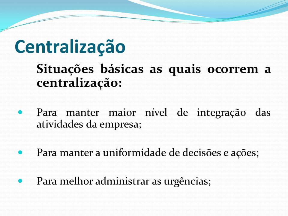 Centralização Situações básicas as quais ocorrem a centralização: