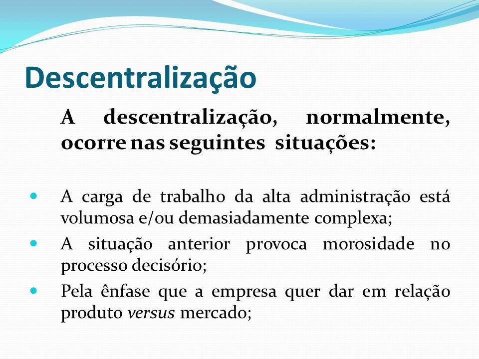 Descentralização A descentralização, normalmente, ocorre nas seguintes situações: