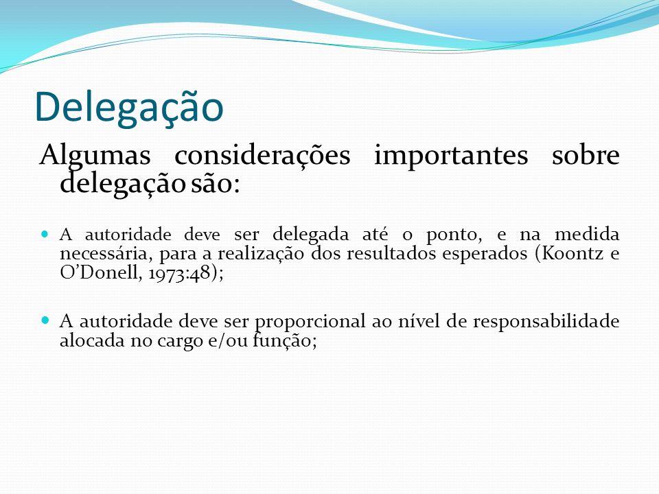 Delegação Algumas considerações importantes sobre delegação são: