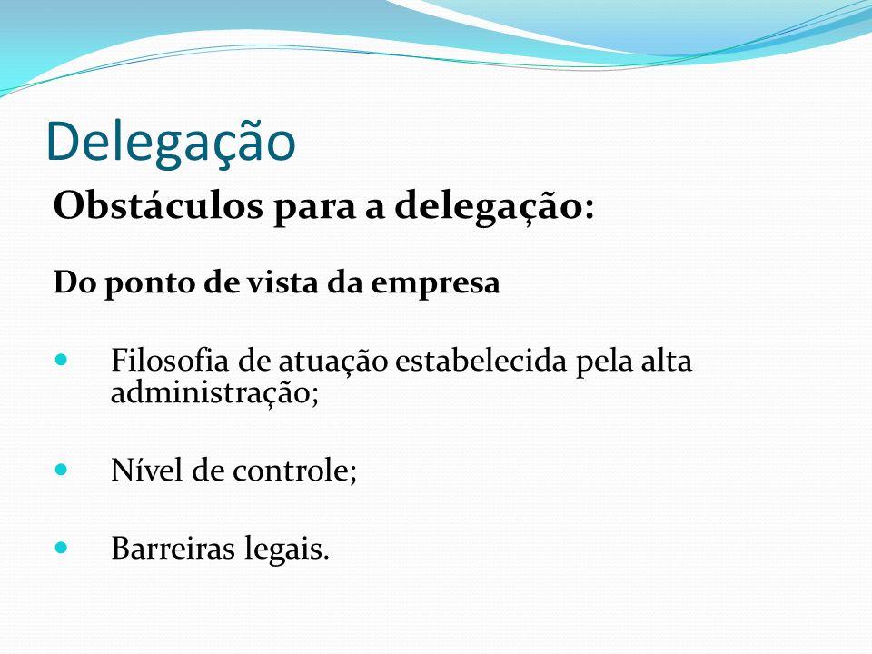 Delegação Obstáculos para a delegação: Do ponto de vista da empresa