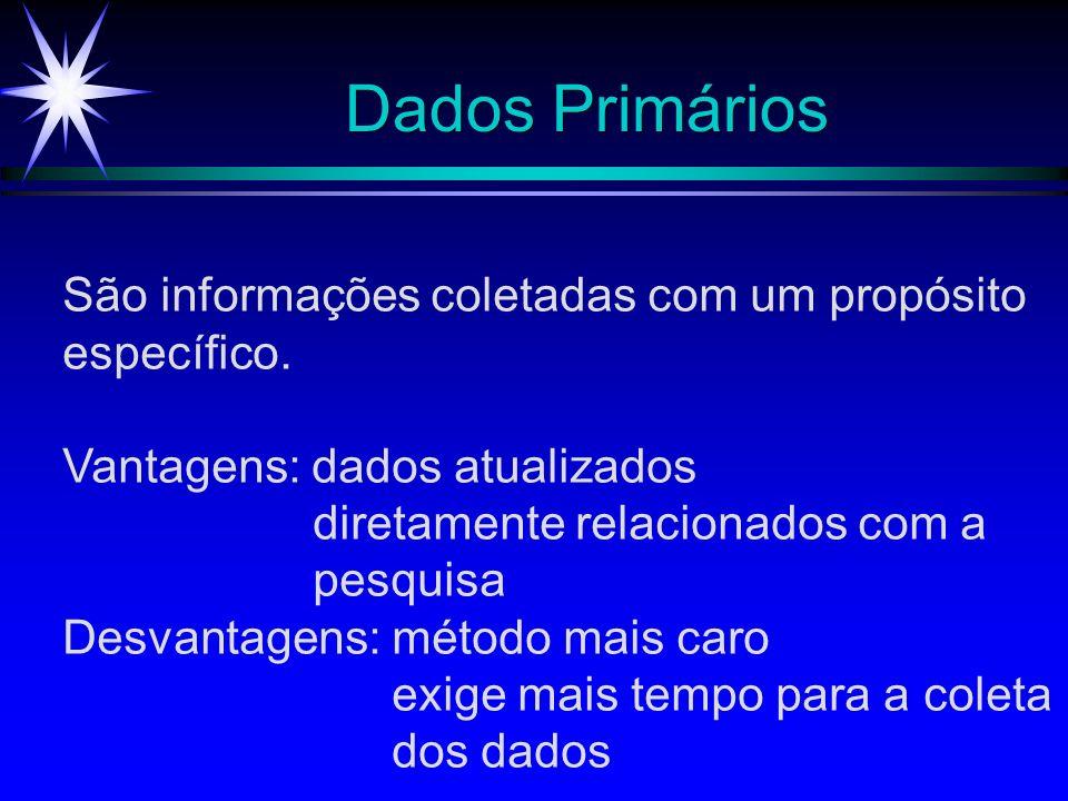 Dados Primários São informações coletadas com um propósito específico.
