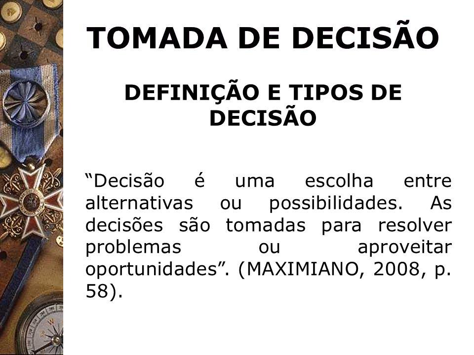DEFINIÇÃO E TIPOS DE DECISÃO