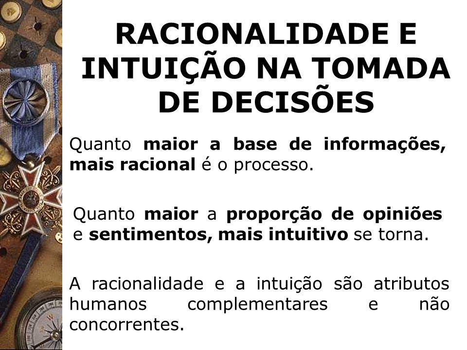 RACIONALIDADE E INTUIÇÃO NA TOMADA DE DECISÕES