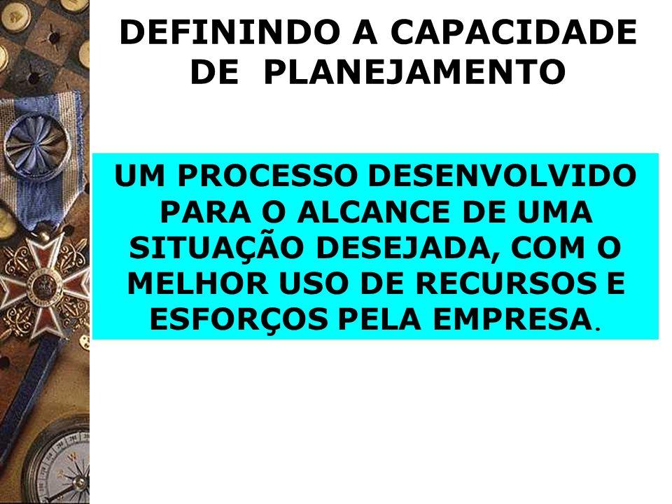 DEFININDO A CAPACIDADE DE PLANEJAMENTO