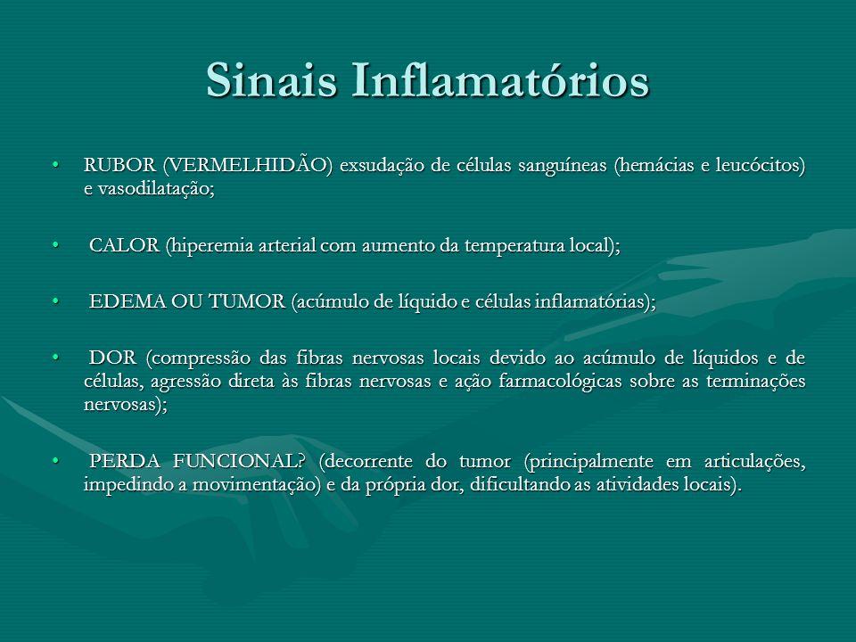 Sinais Inflamatórios RUBOR (VERMELHIDÃO) exsudação de células sanguíneas (hemácias e leucócitos) e vasodilatação;