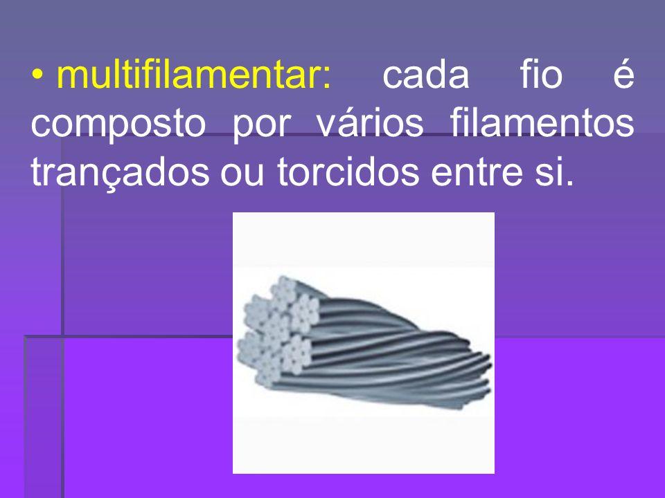 multifilamentar: cada fio é composto por vários filamentos trançados ou torcidos entre si.