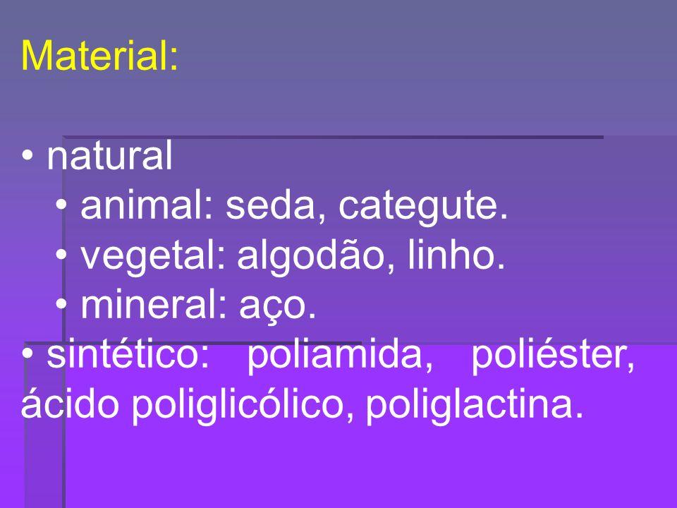 Material: natural. animal: seda, categute. vegetal: algodão, linho. mineral: aço.