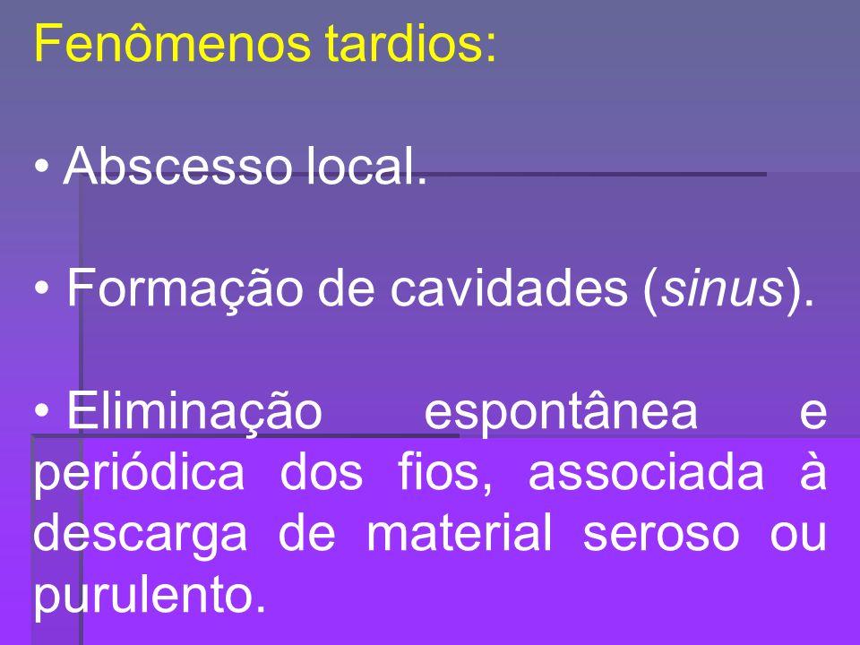 Fenômenos tardios: Abscesso local. Formação de cavidades (sinus).