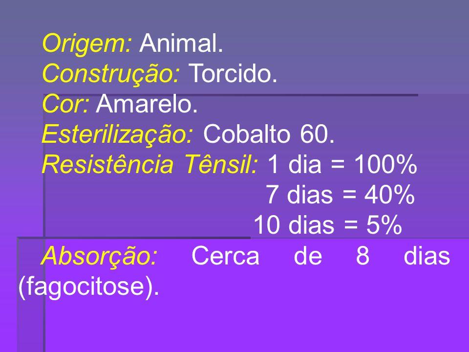 Origem: Animal. Construção: Torcido. Cor: Amarelo. Esterilização: Cobalto 60. Resistência Tênsil: 1 dia = 100%