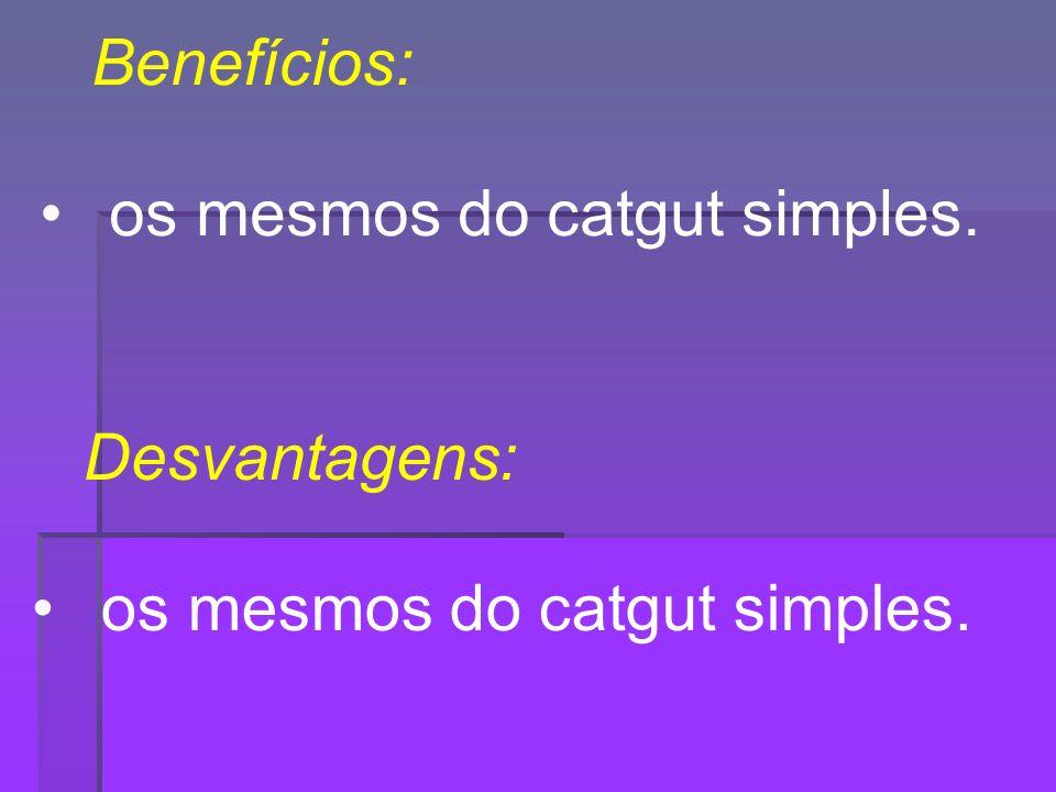 Benefícios: os mesmos do catgut simples. Desvantagens: os mesmos do catgut simples.
