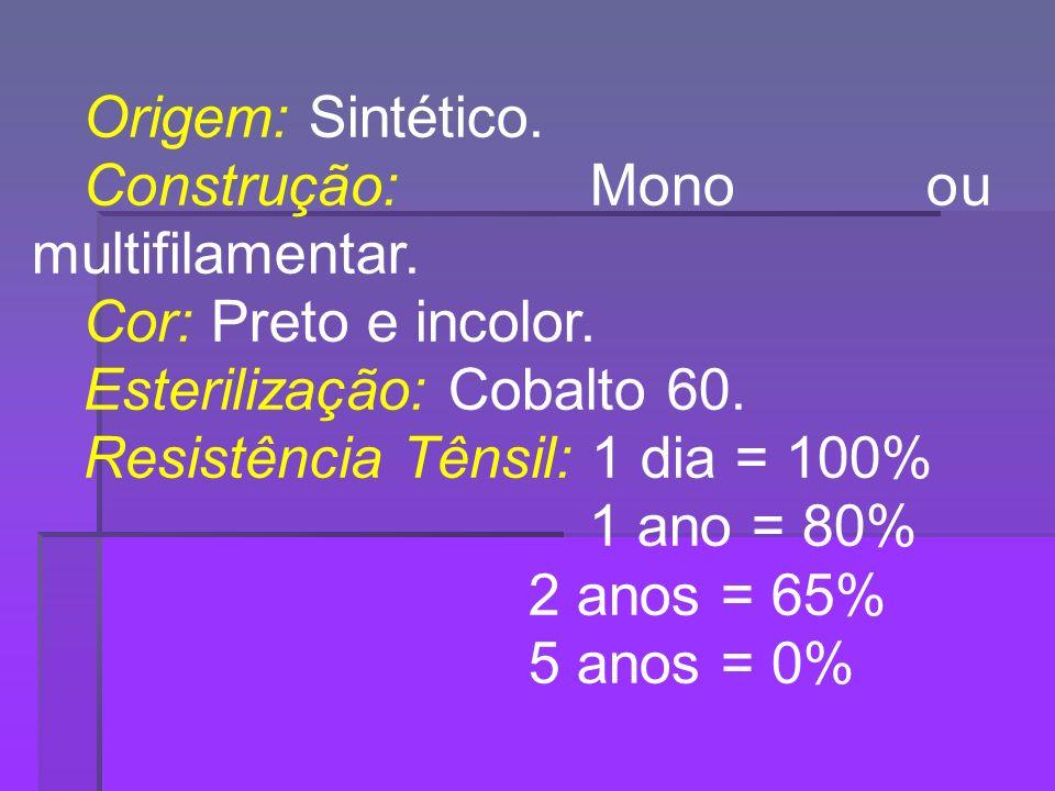 Origem: Sintético. Construção: Mono ou multifilamentar. Cor: Preto e incolor. Esterilização: Cobalto 60.