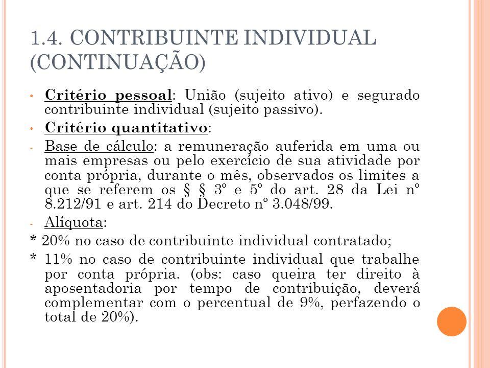 1.4. CONTRIBUINTE INDIVIDUAL (CONTINUAÇÃO)