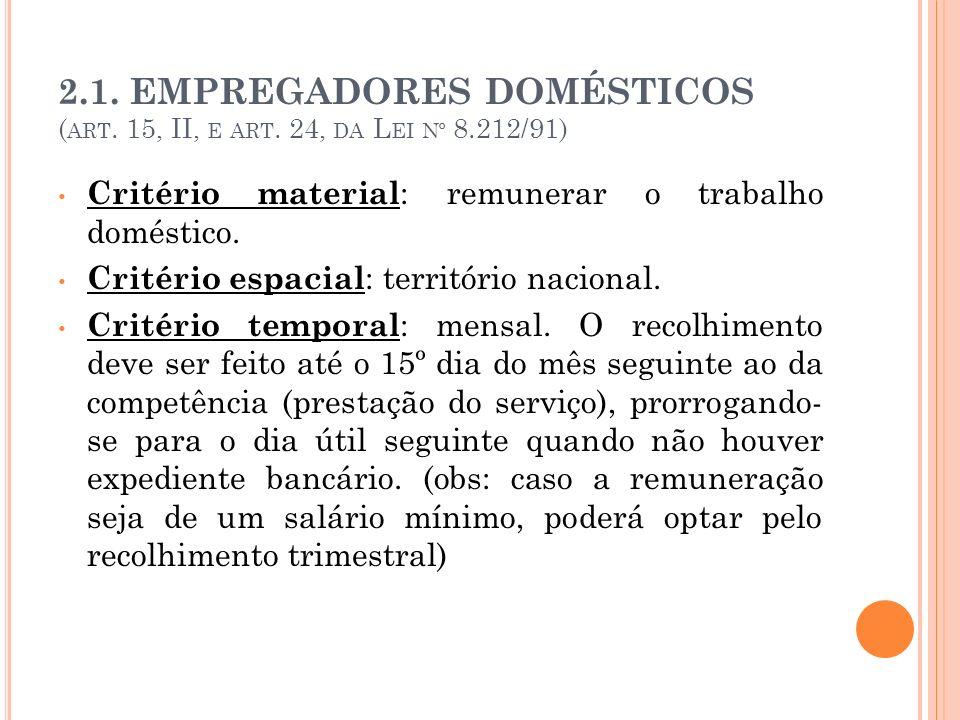 2. 1. EMPREGADORES DOMÉSTICOS (art. 15, II, e art. 24, da Lei nº 8