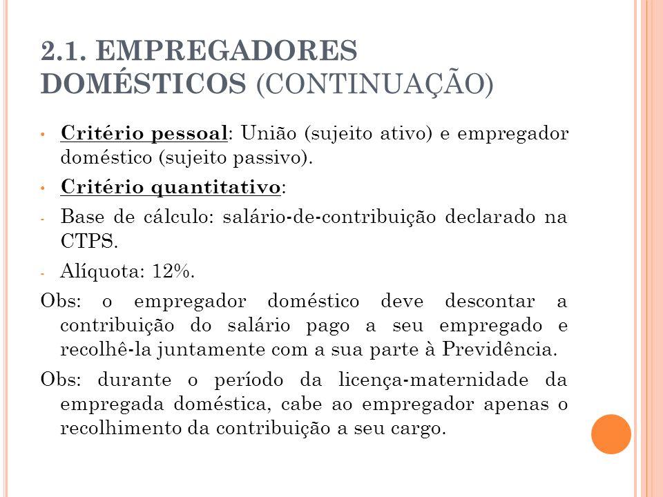 2.1. EMPREGADORES DOMÉSTICOS (CONTINUAÇÃO)