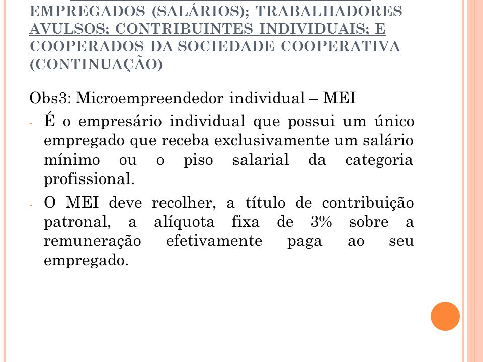 Obs3: Microempreendedor individual – MEI