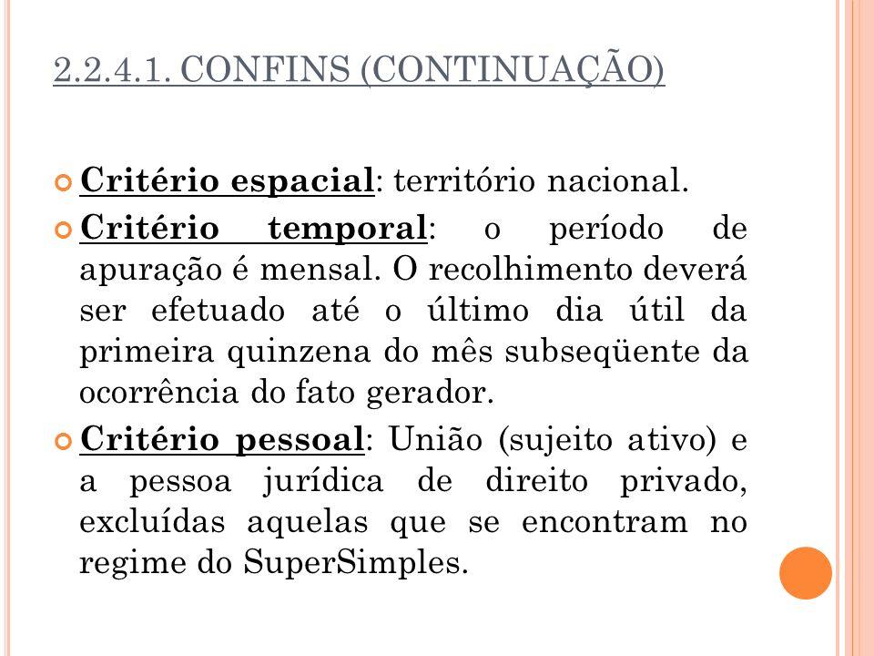 2.2.4.1. CONFINS (CONTINUAÇÃO)