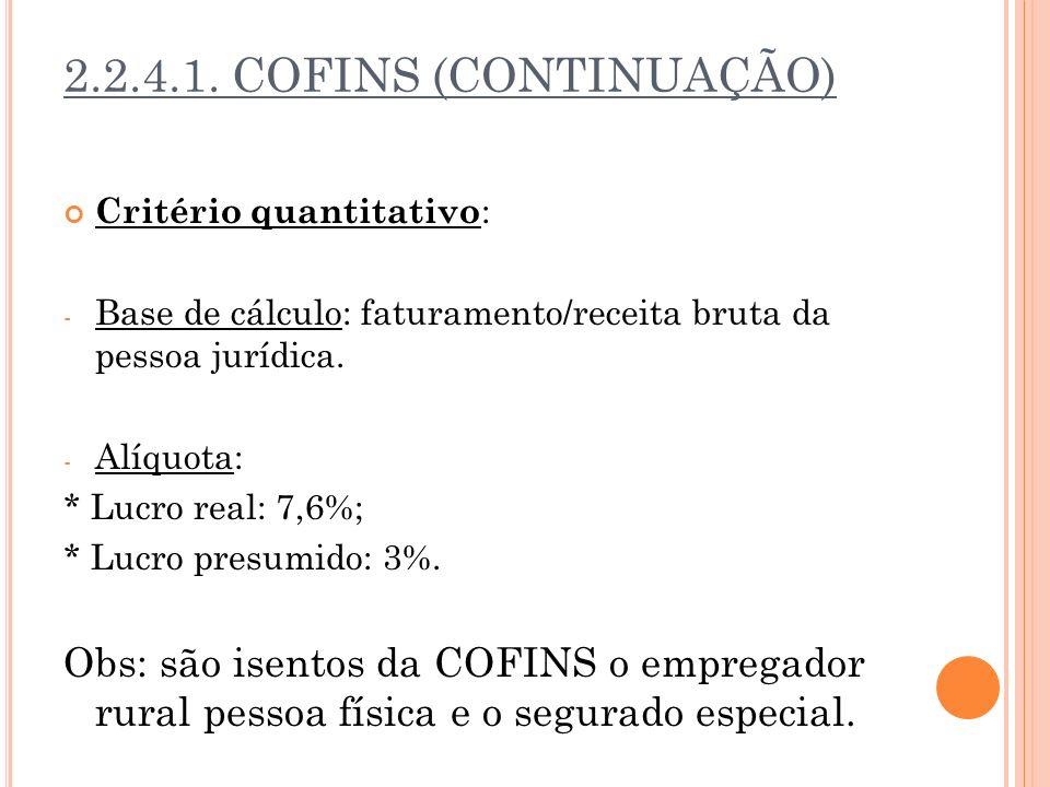 2.2.4.1. COFINS (CONTINUAÇÃO) Critério quantitativo: Base de cálculo: faturamento/receita bruta da pessoa jurídica.
