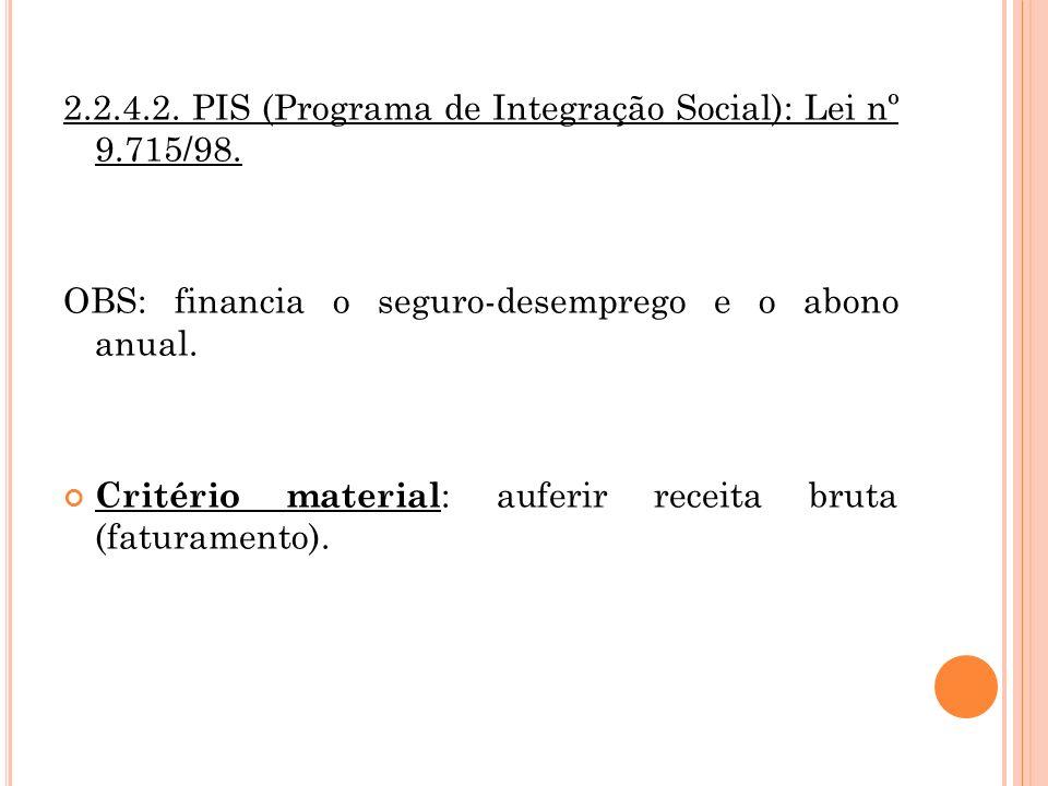 2.2.4.2. PIS (Programa de Integração Social): Lei nº 9.715/98.