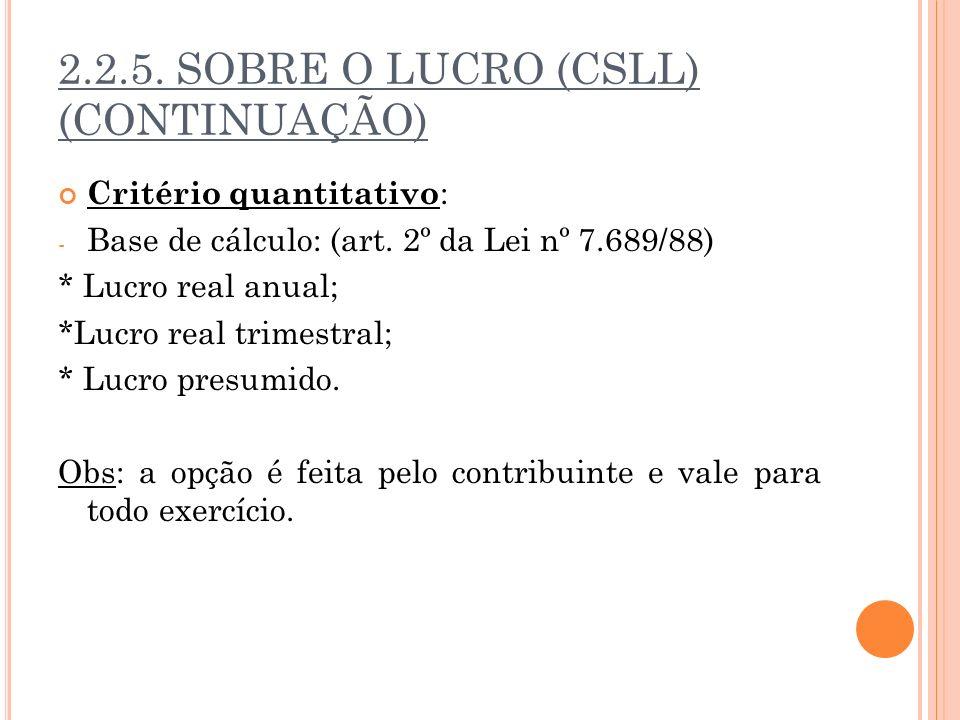 2.2.5. SOBRE O LUCRO (CSLL) (CONTINUAÇÃO)