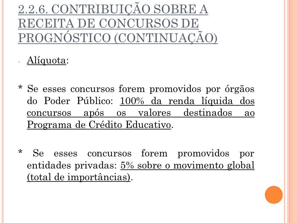 2.2.6. CONTRIBUIÇÃO SOBRE A RECEITA DE CONCURSOS DE PROGNÓSTICO (CONTINUAÇÃO)