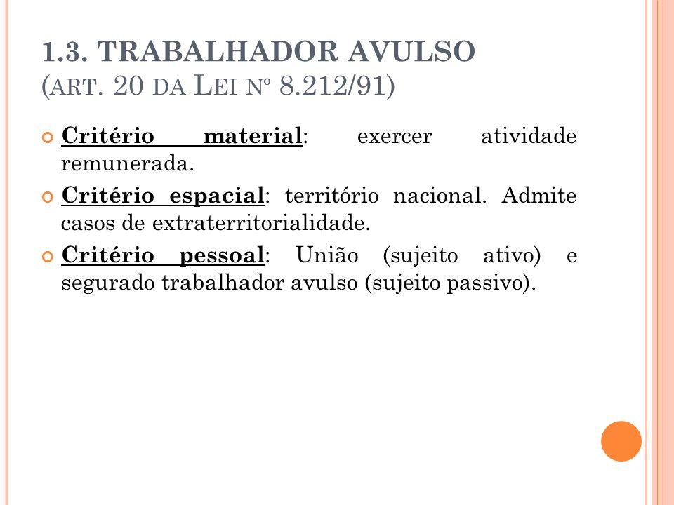 1.3. TRABALHADOR AVULSO (art. 20 da Lei nº 8.212/91)