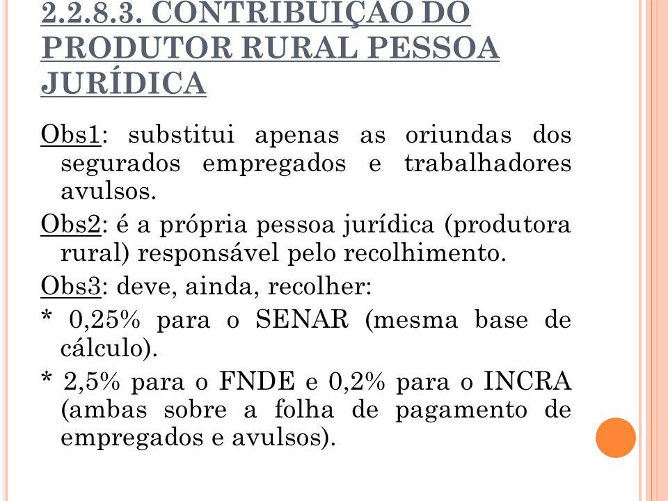 2.2.8.3. CONTRIBUIÇÃO DO PRODUTOR RURAL PESSOA JURÍDICA