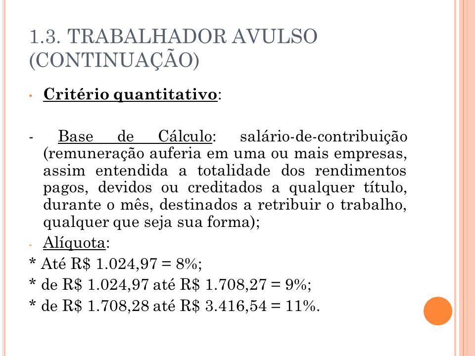 1.3. TRABALHADOR AVULSO (CONTINUAÇÃO)