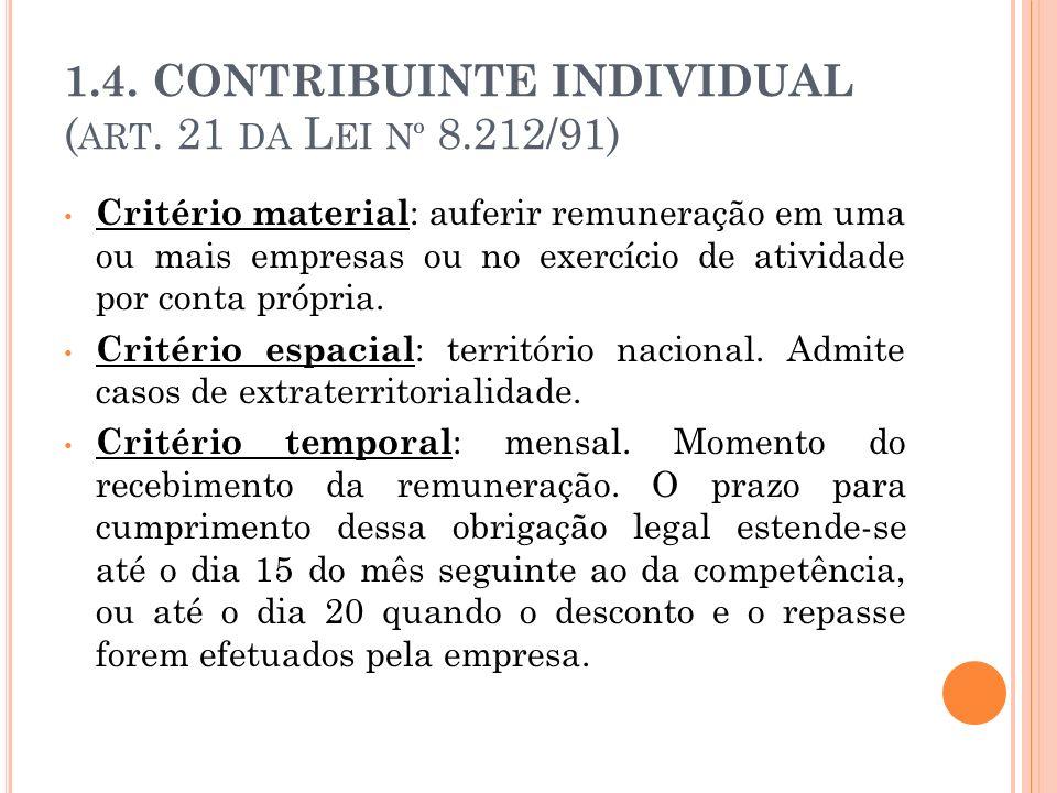 1.4. CONTRIBUINTE INDIVIDUAL (art. 21 da Lei nº 8.212/91)