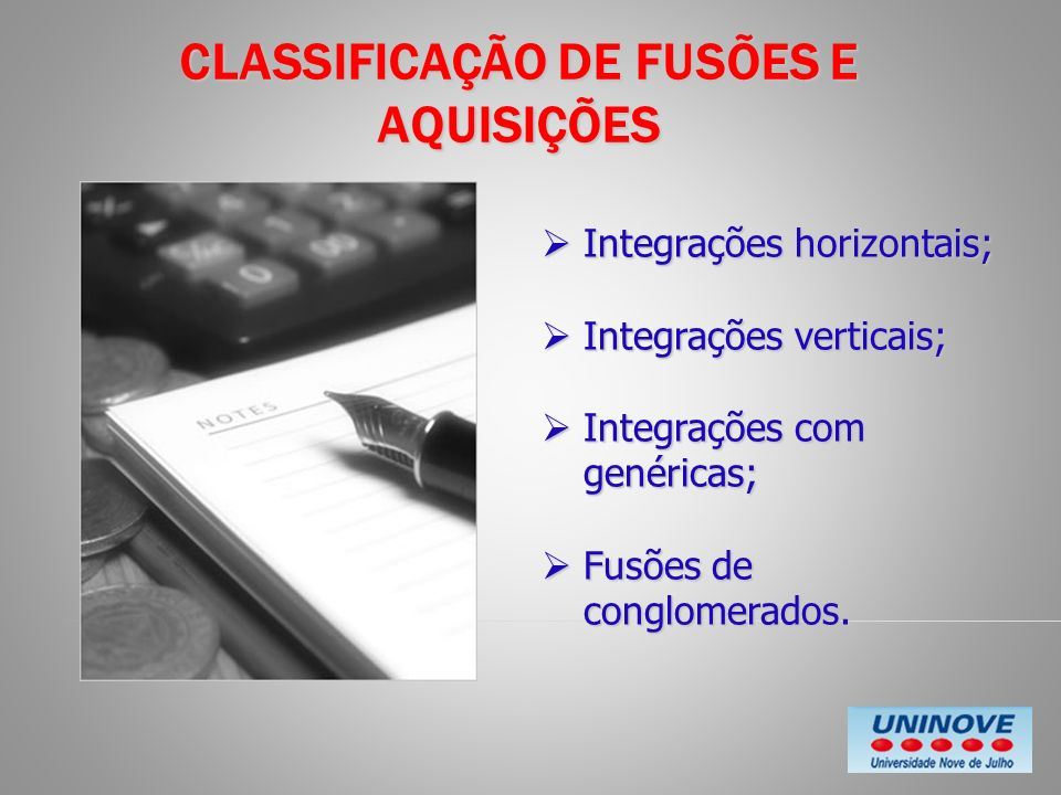 CLASSIFICAÇÃO DE FUSÕES E AQUISIÇÕES