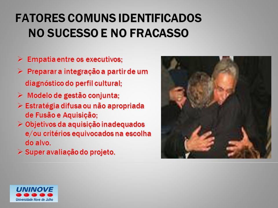 FATORES COMUNS IDENTIFICADOS NO SUCESSO E NO FRACASSO