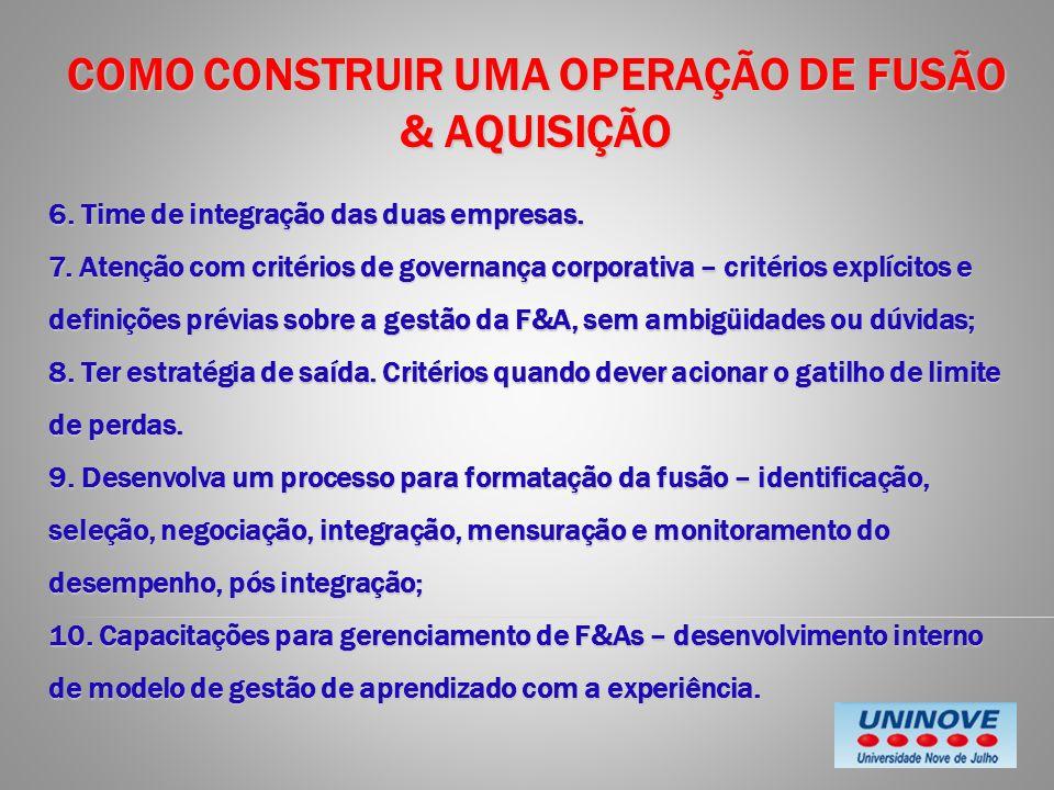 COMO CONSTRUIR UMA OPERAÇÃO DE FUSÃO & AQUISIÇÃO