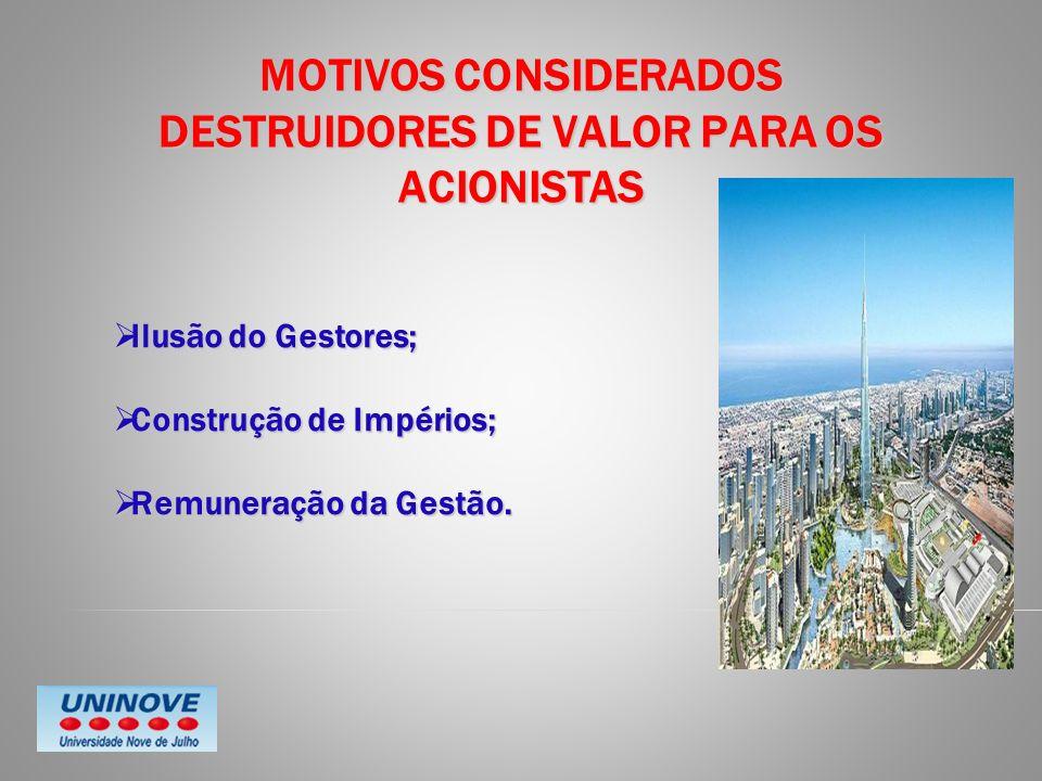 MOTIVOS CONSIDERADOS DESTRUIDORES DE VALOR PARA OS ACIONISTAS